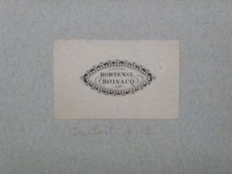 Ex-libris Typographique XIXème - BELGIQUE - HORTENSE BOISACQ - Ex-libris