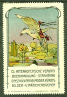 """Straubing Bayern 1913 """" Attenkofer Buchhandlung Bild: Märchen Andersen Nils Holgerson """" Vignette Cinderella Reklamemarke - Cinderellas"""