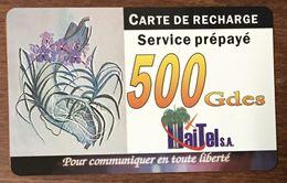 HAÏTI HAITEL 500 GDES EXP LE 31/03/2003 CARTE PRÉPAYÉE PREPAID CARTES TÉLÉPHONIQUE PHONECARD CARD - Haïti