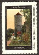 """Tübingen 1913 """" Schuhhaus Fauser Bild Bautzen Sachsen Nicolaiturm """" Vignette Cinderella Reklamemarke - Cinderellas"""