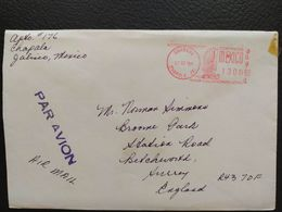 Mexico - Meter Franking Cover EMA 1989 Chapala To England - Mexique