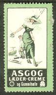 """Dänemark Denmark 1913 """" ASGOG Laeder-Creme = Schuhcreme Gummi Pflege """" Vignette Cinderella Reklamemarke - Cinderellas"""