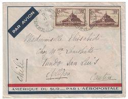 1936 - PAIRE MONT ST MICHEL N° 260 Sur LETTRE PAR AVION Pr LE CHILI ÉTRANGER CAD ST JEAN PIED DE PORT BASSES PYRÉNÉES - 1921-1960: Modern Period