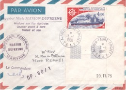 FRANCE - TAAF - Lettre Par Avion - Cachet Marion Dufresne Posté A Bord -  PA46 - BDF - Coins Datés - Obl 13-1-1980 - French Southern And Antarctic Territories (TAAF)