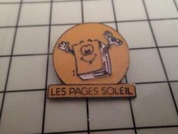 316b Pin's Pins / Beau Et Rare / THEME : FRANCE TELECOM / LES PAGES SOLEIL HONTEUX PLAGIAT DES PAGES JAUNES - Postes