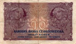 CECOSLOVACCHIA-10 KORUN  1927  P-20a  CIRC.  SERIE  SP 020  C.484254 - Cecoslovacchia