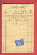 FACTURE 1877 VERSAILLES YVELINES ENTREPOT D HUILES 47 RUE DES CHANTIERS M. LELIEVRE POUR M. BORDIER A CHARTRES - Francia