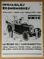1929 Automobiles UNIC Puteaux D'après Jean A. Mercier (Affiches Lutetia) -Dentifrice Des Bénédictins De Soulac-Publicité - Werbung