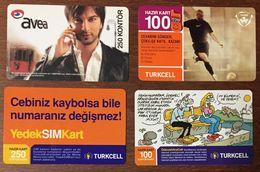 TURQUIE LOT DE 4 RECHARGES GSM PRÉPAYÉE TELE CARD PHONE CARD TELECARTE - Turchia
