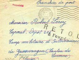 C7 1941 Lettre Prisonnier De Guerre Français En SUISSE Mention Rapatrié/retour... - 2. Weltkrieg 1939-1945