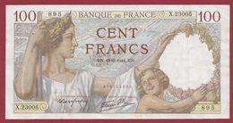 """100 Francs """"Sully"""" Du 19/06/1941.U.N---TTB+---ALPH .X.23005 - 1871-1952 Circulated During XXth"""