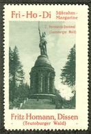 """Dissen Teutoburger Wald 1913 """"Fritz Homann Margarine Bild: Hermannsdenkmal B Lemgo """"  Vignette Cinderella Reklamemarke - Cinderellas"""