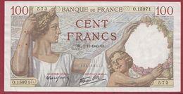 """100 Francs """"Sully"""" Du 07/11/1940.G.L---TTB+---ALPH .O.15971 - 1871-1952 Gedurende De XXste In Omloop"""