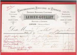 FACTURE 1892 ABLIS YVELINES M. LEDIEU GUILLET CHAUDRONNERIE ZINGUERIE ETAMAGE EPICERIE MERCERIE CLOUTERIE CHARBON - 1800 – 1899
