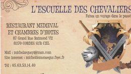 L'Escuele Des Chevaliers - Restaurant Médiéval Et Chambres D'Hôtes - 81170 Codes Sur Ciel - France - Visiting Cards