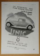 1931 Automobiles UNIC Puteaux La 8 Cylindres 15 Ch D'après Reschofsky - Crème Gibbs Par Pouprou Bornier - Publicité - Werbung