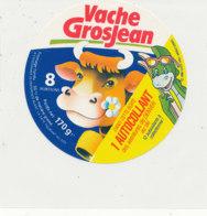 Y 651  A /   ETIQUETTE DE FROMAGE   VACHE   GROSJEAN    8  PORTIONS  1 AUTOCOLLANT - Fromage