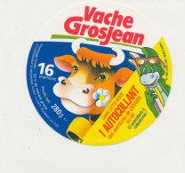 Y 652  A /   ETIQUETTE DE FROMAGE   VACHE   GROSJEAN   16  PORTIONS  1 AUTOCOLLANT - Fromage