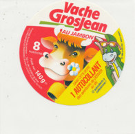 Y 653  A /   ETIQUETTE DE FROMAGE   VACHE   GROSJEAN  AU JAMBON   8  PORTIONS  1 AUTOCOLLANT - Fromage