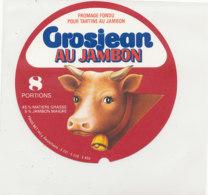 Y 654  /   ETIQUETTE DE FROMAGE   VACHE   GROSJEA AU JAMBON N    8  PORTIONS - Fromage