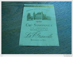 ETIQUETTE CH. CRU SIMONNET 1970 MONBAZILLAC - Bordeaux