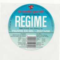Y 672 /   ETIQUETTE DE FROMAGE   LA VACHE QUI RIT   REGIME  PAUVRE EN SEL - Fromage