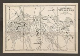 CARTE PLAN 1937 BAVIERE GARMISCH PARTENKIRCHEN - KARTE 1937 BAYERN - Topographical Maps