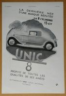 1931 Automobiles UNIC Puteaux La 8 Cylindres 15 Ch D'après Reschofsky - Biscuits LU Lefèvre-Utile Nantes - Publicité - Werbung