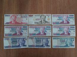Lot De 9 Billets Turc En Bon état - Turchia