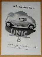 1931 Automobiles UNIC Puteaux La 8 Cylindres 15 Ch D'après Reschofsky - La Douche électrique Calor - Publicité - Werbung