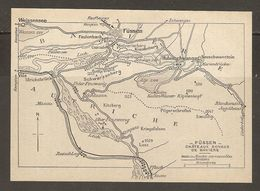 CARTE PLAN 1937 BAVIERE FUSSEN CHATEAUX ROYAUX - KARTE 1937 BAYERN FUSSEN ROYAL CASTLES - Topographische Karten
