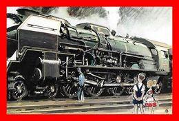 2 CPSM/pf TRAINS. Locomotive à Vapeur Type 241 P / Locomotive électrique Type CC7100...L124 - Trains