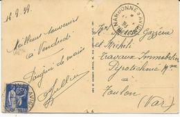 CARTE POSTALE 1938 AVEC CACHET AMBULANT NARBONNE A AVIGNON - Bahnpost