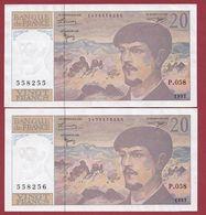 """20 Francs """"Debussy"""" 1997----SUP----ALPH.P.058---SUITE DE 2 BILLETS - 20 F 1980-1997 ''Debussy''"""