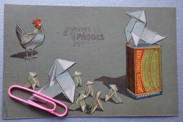 PUB Pour Les Allumettes SAKERHETS-TANDSTIKOR : Joyeuses PAQUES En 1909 En Relief Très Belle Carte - Werbepostkarten