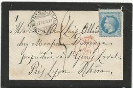 LETTRE 1868 POUR LA FRANCE AVEC CACHET AMBULANT GENEVE-CULOZ ET CACHET D'ENTREE SUISSE LYON - Marcophilie