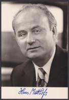 Hans Matthöfer, Autogrammkarte Mit Unterschrift - Hommes Politiques & Militaires