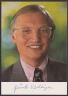Günter Verheugen, Farbige Autogrammkarte Mit Unterschrift - Hommes Politiques & Militaires