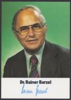Dr. Rainer Barzel, Farbige Autogrammkarte Mit Unterschrift - Hommes Politiques & Militaires