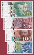 France 4 Billets ---dans L 'état ---voir Scan ---DERNIERE  GAMME COMPLETE  AVANT  L' EURO --lot N °1 - Sin Clasificación