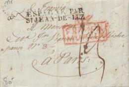 """1828 LETTRE AVEC ENTREE """"ESPAGNE PAR ST JEAN-DE-LUZ"""" + Cachet """"FRANCA ...?"""" En Rouge Pour PARIS Taxe 13 - Postmark Collection (Covers)"""