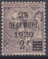 MONACO : SURCHARGE 28 DECEMBRE 1920 N° 50 NEUF * GOMME AVEC CHARNIERE - Monaco