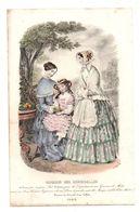 Gravure De Deux Dames Et Une Fillette Mangeant Des Fruits En 1849 - Magasin Des Demoiselles - Stampe & Incisioni