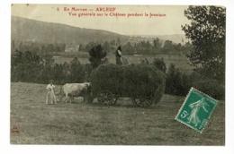 En Morvan - Arleuf - Vue Générale Sur Le Château Pendant La Fenaison (attelage De Boeufs, Chargement Char) Circulé - Other Municipalities