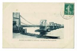 Fourchambault - La Loire Et Le Pont Suspendu (barque) Circulé 1911 - Autres Communes