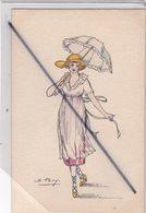 """Illustration ; Femme élégante Avec Ombrelle (Signé S.Pavy) """"Silhouette Parisiennes"""" - Künstlerkarten"""