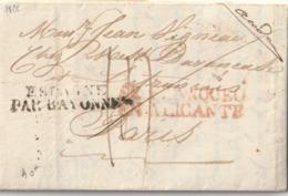 """1826 LETTRE AVEC ENTREE """"ESPAGNE PAR BAYONNE + Cachet """"...? EN ALICANTE"""" En Rouge Pour PARIS Taxe 14 - Postmark Collection (Covers)"""