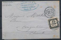 DS-57: FRANCE: Lot Avec Taxe N°4 Sur Lettre Du 26/01/1871, Taxée Le 3/2/71 à Angoulème (timbre Court à Droite) - Impuestos