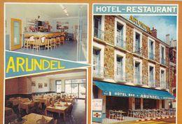 """85.LES SABLES D'OLONNE. CPSM.MULTIVUES. """" HOTEL RESTAURANT ARUNDEL"""" INTERIEUR- EXTERIEUR. Bd FRANKLIN ROOSVELT + TEXTE - Sables D'Olonne"""
