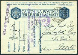 1941 Italy Cartolina Postale Per Le Forze Armate, Stationary Postcard. Fieldpost Censor - Azzate - Military Mail (PM)